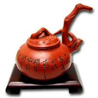 Plum Tree Clay Tea Pot with Chinese Poem